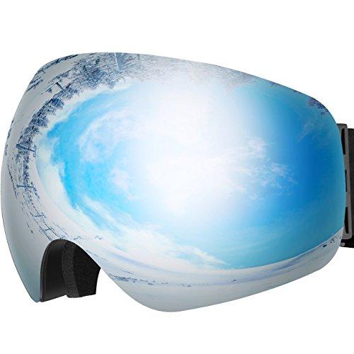 OMORC Gafas Snowboard, Gafas Esquí con Anti-Niebla Lente de Dual Capa, 100% UV400 Protección, Amplio y Claro Campo de Visión,Lligero, Cómodo y Respirable-Gris