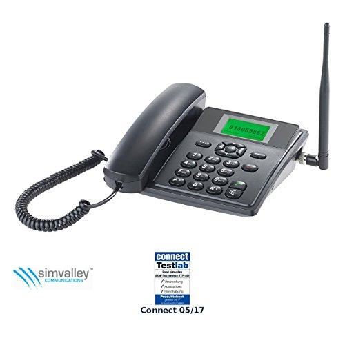 simvalley communications GSM Tischtelefon: GSM-Tisch-Telefon mit SMS-Funktion und Akku, ohne Vertrag & SIM-Lock (Tischtelefon mit Simkarte) (Tischtelefon Mit Schnurlosem Telefon)