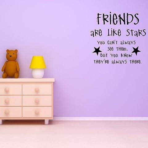 Amigos son como las estrellas no siempre se puede verlos Etiqueta de la pared Cita Tatuajes de pared Arte disponible en 5 tamaños y 25 colores Medio Verde musgo