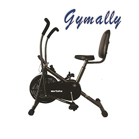 Gymally Exercise Cycle| Moving Handle Gym Bike for Home Use| Deluxe Design of Fitness Weight Loss Cross fit Equipment, Stamina Bike| Dual Action Airbike with Back Support