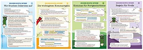 Plakate - Zeichen richtig setzen in 5 bis 10: 4 Plakate - DIN A1 - Zeichensetzung, Kommaregeln (Richtig schreiben)