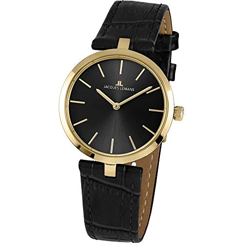 Jacques Lemans Women's Milano 34mm Black Leather Band Quartz Watch 1-2024E
