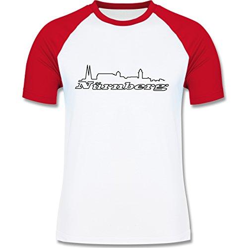Skyline - Nürnberg Skyline - zweifarbiges Baseballshirt für Männer Weiß/Rot