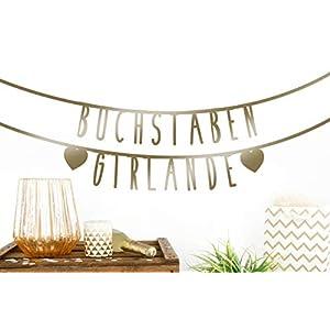 MIK funshopping Individualisierbare Buchstaben-Girlande für Geburtstag Hochzeit Feier Party Junggesellenabschied 105-teilig aus Papier (Gold)