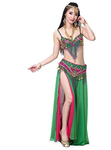 Dance Fairy Tribal Bauchtanz gehobenen Belly Dance Set sexy BH und Hüfttuch und langen Rock Bauchtanz Kostüm Einheitsgröße(Grün+Rose) (Belly Tanzen Tänzerin Dance Bh)