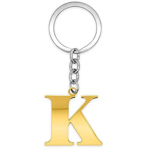 SoulCats® Schlüsselanhänger Buchstaben gold A-Z glänzend Initialen Schlüsselbund Edelstahl, Farbe: gold, Auswahl: Modell K