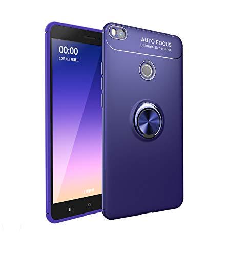 SHUYIT Xiaomi Mi Max 2 Funda con Anillo Soporte, Ultra Slim 360 Grados Giratorio Ring Grip con Kickstand Carcasa Silicona TPU Case Cover para Xiaomi Mi Max 2 Caso Azul