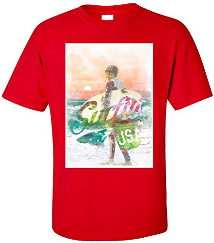 PAPAYANA - SURFING - Herren T-Shirt - BEACH SUNSET LONG LA BLV NY PD Rot