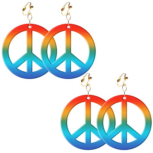Sunshane 2 Paar Hippie Style Peace Sign Ohrringe Hippie Dressing Zubehör, Regenbogen Farbe (60er Peace Child Kostüm)