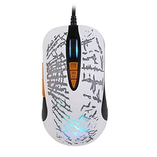 F&H Wired mechanische Maus Spiel USB-Maus optische Notebook Mobile Maus photoelektrische Auflösung 5600 DPI,White - White Mobile Maus