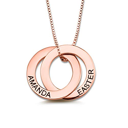 Hohan Personalisierte Namen Halskette Geburtstagsgeschenk für Mädchen Customized Name 2 Circles Pendant