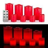 8 LED Echtwachskerzen Set mit Timer und Fernbedienung - 4 Stumpenkerzen und 4 Teelichter (Rot)