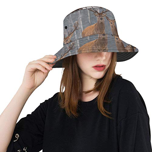 Winter Deer Schnee Wald Tier Sommer Unisex Baumwolle Mode Angeln Sun Bucket Hats für Kind, Teenager, Frauen und Männer mit anpassen Top Packable Fisherman Cap für Reisen im Freien