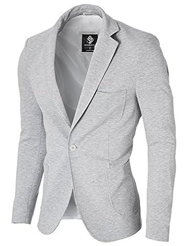 MODERNO Slim Fit Freizeit Baumwolle Herren Sakko Blazer (MOD14513B) Grau