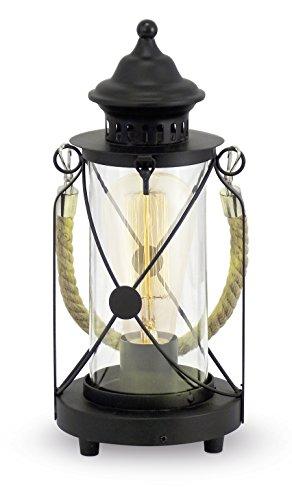 EGLO 49283 Tischleuchte Bradford mit Kordelband creme Stahl, schwarz (Klar-glas-tisch-lampe)