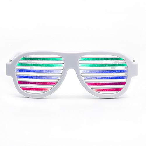 D Light Blinds Voice-Aktivierte Gläser Neon Party Favor Verschiedene Farben Glühen In Der Dunklen Party Supplies Pack,White ()