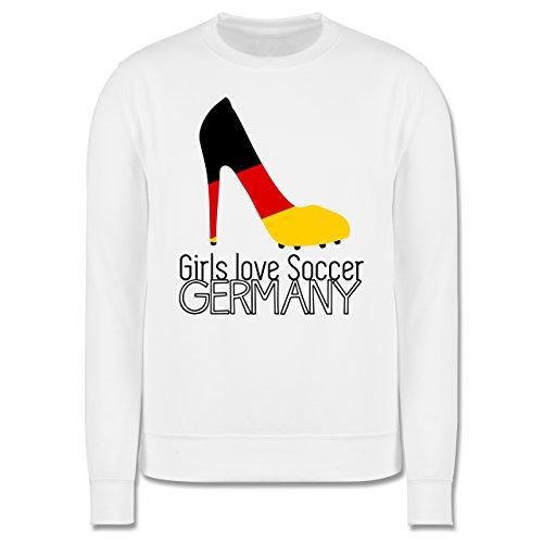EM 2016 - Frankreich - Girls love soccer - Germany - Herren Premium Pullover Weiß