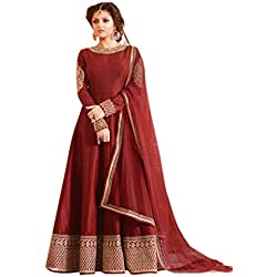 Active Women's Heavy Banglori Silk Fabric Embroidery Dress Material (Maroon)