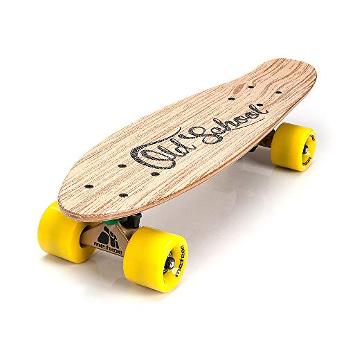 meteor Holz Skateboard Kinder - Mini Cruiser Kickboard - Skateboard Rollen Board Old School Holz Deck Retro Skateboard Jungen - Kinder ab 3 Jahre Mini-Board (Old School)