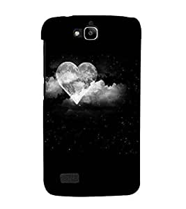 For Huawei Honor Holly grey cloud heart ( grey cloud heart, cloud, black background ) Printed Designer Back Case Cover By CHAPLOOS