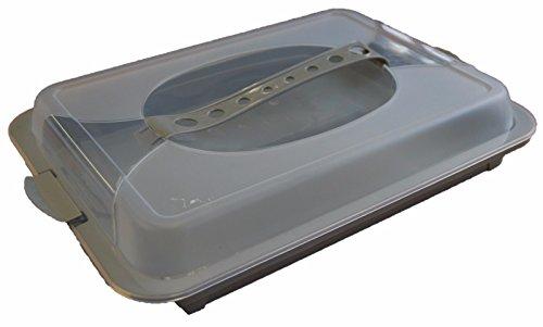 Kunststoff Server Tabletts Kuchen Tabletts mit Deckel Party Platten Stay Fresh Food Aufbewahrung in grau, weiß oder grün grau (Sandwich-server)