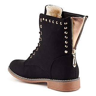 Parelia London Damen Schnür Stiefel Reißverschluss Warm Gefüttert Stiefeletten Nieten Biker Boots Schwarz EU 39