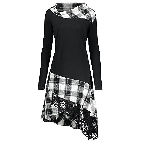 CharMma Frauen Übergröße Mock Neck Sweatshirt Asymmetrisch Top Spitzen Bluse Langarm Hemd (4XL, Weiß)