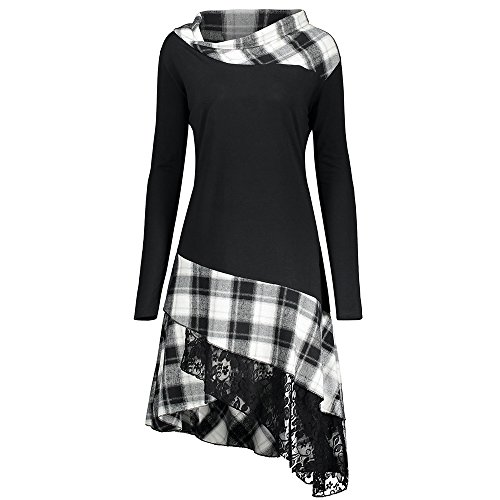 CharMma Frauen Übergröße Mock Neck Sweatshirt Asymmetrisch Top Spitzen Bluse Langarm Hemd (2XL, Weiß) (Mock Jumper)