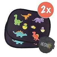 "HECKBO® - self-adhesive car sun shade - car sun protection for babys and children [2 pieces]   motif: dino dinosaur   17.32"" x 14.17""   car window, sun protection + free bag"