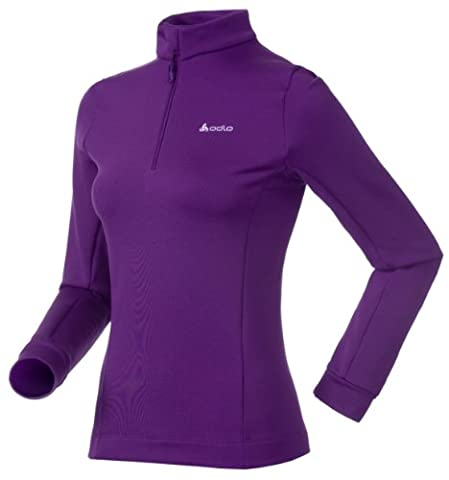 Odlo Sugar Bowl Women's Roll-Neck Jumper with Stand-Up Collar and Half Zip plum purple Size:XS