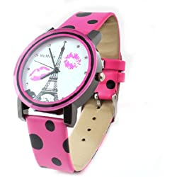 sourcingmap® Women Retro Style Polka Dots Eiffel Tower Print Band Watch Fuchsia