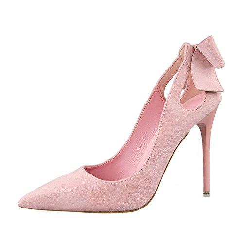 XINJING-S Bowknot Frauen High Heels Schuhe Party Hochzeit Pumpen Kleidung Schuhe Lady Heels GWS009 7.5