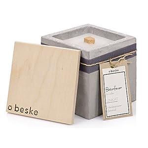 Beske-Manufaktur Design Betonfeuer, Outdoor Kerze mit Dauerdocht, 13x13x13cm, Gartenfackeln zum nachfüllen mit Kerzenwachs, Unendliche Brenndauer durch Upcycling von Wachsresten