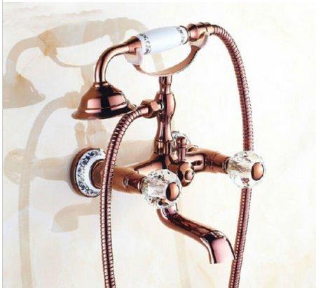 Gowe Rose Golden Kristall Griffe Badezimmer Badewanne Wasserhahn Stil Badewanne Armatur Dusche