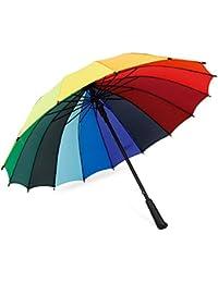 RAINKUU Paraguas Arco Iris 16 Costillas Robusto Suficiente para a Prueba de Viento bumbersoll a Prueba