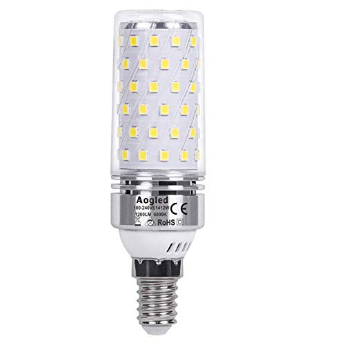 Aogled E14 Led Bulb Lamp 12W,Equivalent to 100W Halogen lamp,Daylight White 6000K,1200LM Corncob,Edison Screw Candelabra E14, Not Dimmable,No Flickering AC220-240V,Pack of 1