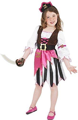 (Mädchen rosa Piraten-Party büchertag Halloween Kostüm Kleid Outfit 4-12 Jahre - Rosa, 4-6 Years)
