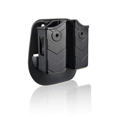 efluky Portacargador Funda para Pistola Cargador Bolsa Universal Portacargador Doble para H&K USP FS/Compact 9mm/.40/Beretta/Golck/CZ 75/Walther P99/Sig Sauer p226, Paddle 60°Adjustable