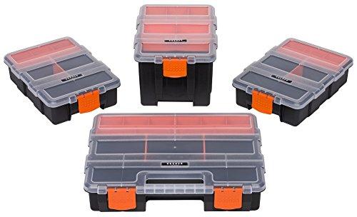 Set aus 4 Organizer und Sammelboxen mit variablen Einteilern und herausnehmbaren Einsätzen für Kleinteile und Werkzeuge - praktisch und robust