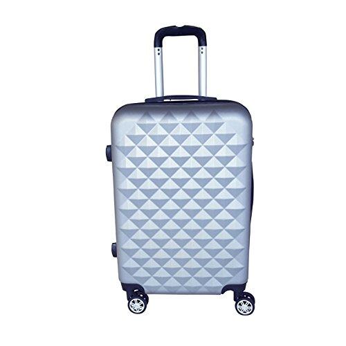 Reisekoffer Hartschale QTC Kairo 2 Case Trolley M / 55cm / Handgepäck Reise Koffer Trolly(Silber)