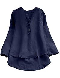 Mujeres Elegantes Camisa Color Liso con Botones de algodón Blusas de Verano y Camisa Elegante Botón