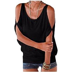Imixcity Verano Camisas De Hombro Frío Blusas Tops del Batwing Camisetas sin Mangas Camiseta Casual Camiseta para Mujer (XXL, Negro)