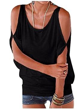 Imixcity Verano Camisas De Hombro Frío Blusas Tops del Batwing Camisetas Sin Mangas Camiseta Casual Camiseta Para...