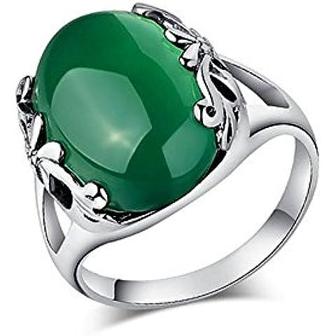 Jade de Ángel de plata de ley de óvalo verde Onyx tailandés de la joyería de la vendimia del anillo