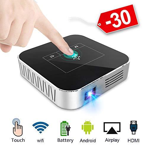 Mini Beamer DLP Projektor 2500 Lumens HD WiFi Bluetooth Unterstützung Full HD 1080P 200 Zoll mit HDMI USB AKKU 4000mAh Android OS Heimkino Projektor mit Stativ Fernbedienung