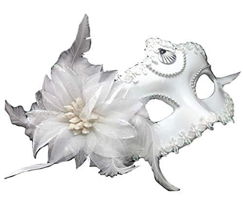 PICCOLI MONELLI Máscara Veneciana Mujer Sexy Carnaval Blanco máscara de Venecia con Flor