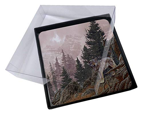 Advanta - Coaster Set 4X Berg Wolf Bild Setzer gesetzt Wolf Coaster Set