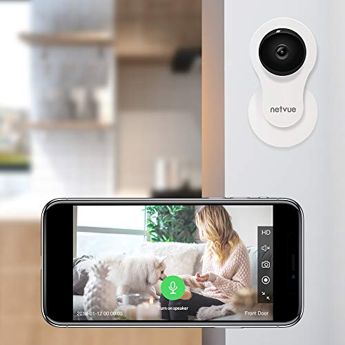 Netvue 1080P HD IP Camera,Compatible with Alexa Echo Show Security Home Cam WiFi Baby Monitor with 2-Way Talk IR Night Vision Motion Detector 14-Day Continuous Cloud Storage for iOS Android Devices