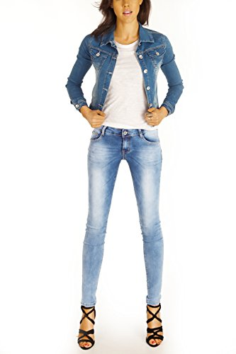 Bestyledberlin Damen Jeans, Basic Skinny Fit Denim Hosen, enge Röhrenjeans Stone Washed j85kw Hellblau