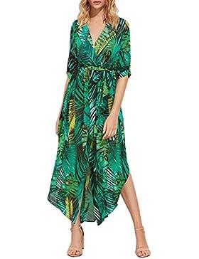 Gavemenget Verano Mujer Elegantes Irregular Largo Vestido con Vendaje Moda Impresión Maxi Vestido de Playa Sexy...